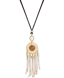 Lucky Brand Gold-Tone Beaded Stone & Leather Adjustable Slider Pendant Necklace, Created for Macy's