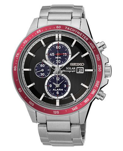 Seiko Men's Solar Chronograph Stainless Steel Bracelet Watch 42.8mm