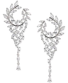 "Cubic Zirconia Hoop 2-1/2"" Chandelier Earrings"