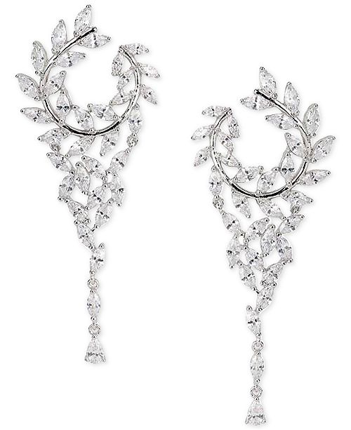 "Nina Cubic Zirconia Hoop 2-1/2"" Chandelier Earrings"