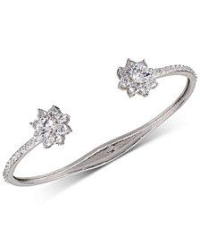 Nina Silver-Tone Crystal Flower Cuff Bracelet