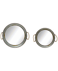 3R Studio Mirrored Trays with Rope Handles, Set of 2