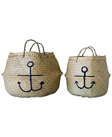 Seagrass Collapsible Baskets with Embroidered Anchors, Set of 2
