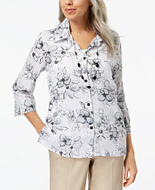 Alfred Dunner Petite Printed Layered-Look Necklace Top