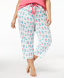 Charter Club Plus Size Cotton Printed Pajama Pants, Created for Macy's