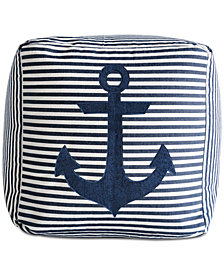 Navy Stripe Square Pouf Pillow with Embroidered Anchor