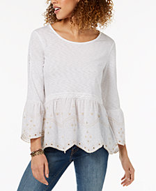 Style & Co Embroidered Peplum Bell-Sleeve Top, Created for Macy's