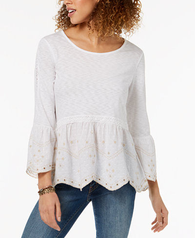 Style & Co Petite Embroidered Peplum Top, Created for Macy's