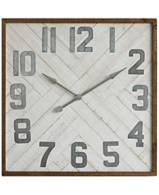 Square Wood & Metal Wall Clock