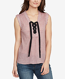 WILLIAM RAST Cotton Striped Lace-Up Top