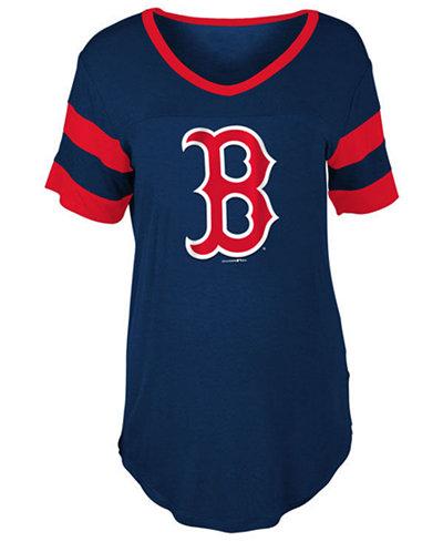 5th & Ocean Women's Boston Red Sox Sleeve Stripe Relax T-Shirt