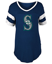 5th & Ocean Women's Seattle Mariners Sleeve Stripe Relax T-Shirt