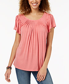 Style & Co Pleated-Neck Top, Created for Macy's