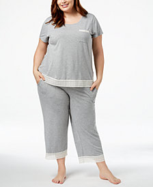 Alfani Plus Size Lace-Trim Pajama Set, Created for Macy's