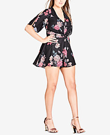 City Chic Trendy Plus Size Printed Cutout Romper