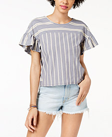 Lucky Brand Striped V-Back Ruffle Top