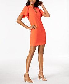 Trina Turk Flutter-Sleeve Keyhole Dress