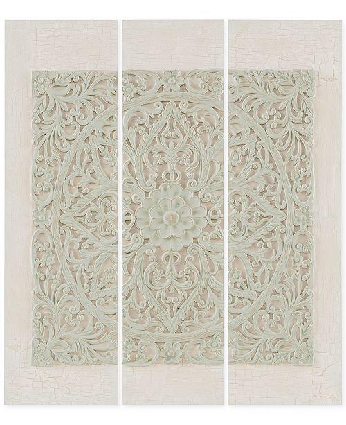 JLA Home Madison Park Wooden Mandala Gray 3-Pc. 3-D Embellished Canvas Wall Art Set