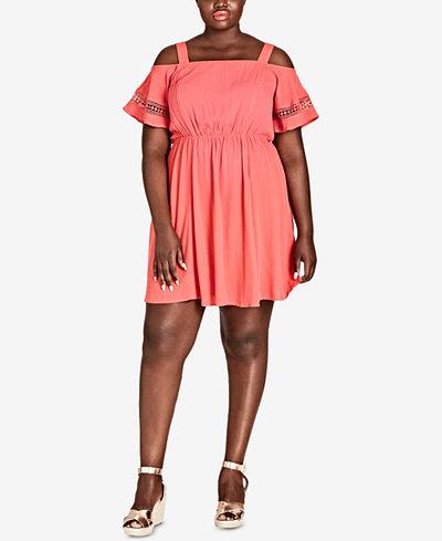 City Chic Trendy Plus Size Cold-Shoulder Dress