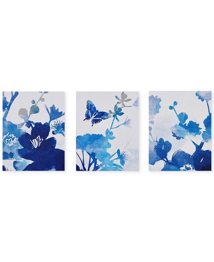 JLA Home - Cobalt Garden 3-Pc. Gel-Coated Canvas Print Set