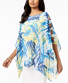 JM Collection Printed Poncho Tunic, Created for Macy's