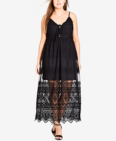 City Chic Trendy Plus Size Festival Fun Embroidered Lace Maxi Dress