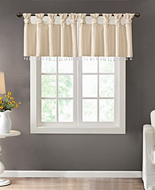"Emilia 50"" x 26"" Lined Faux-Silk Twisted Tab Curtain Valance"