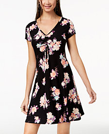 Ultra Flirt Juniors' Ruched Printed Skater Dress