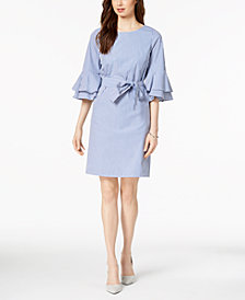 Nine West Bell-Sleeve Striped Shift Dress