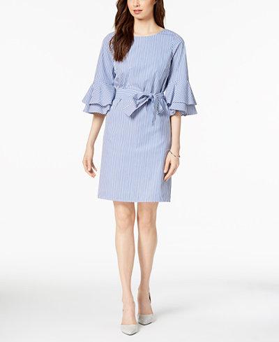 Nine West Bell-Sleeve Striped Shift Dress - Dresses - Women - Macy\'s