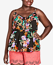 City Chic Trendy Plus Size Molokai Printed Tie-Detail Top