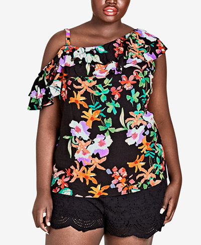 City Chic Trendy Plus Size Printed Molokai Floral Ruffled Top