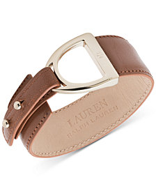 Lauren Ralph Lauren Gold-Tone Buckle Leather Snap Bracelet
