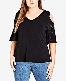 City Chic Trendy Plus Size Cold-Shoulder Top