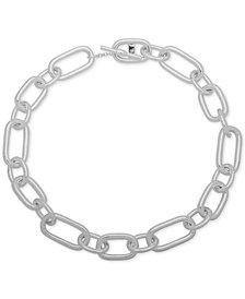 "Lauren Ralph Lauren Silver-Tone Mixed Link 17"" Collar Necklace"