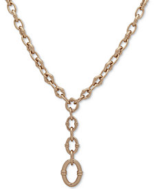 "Lauren Ralph Lauren Gold-Tone Large Link Y Necklace, 16"" + 3"" extender"