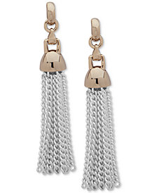 Lauren Ralph Lauren Two-Tone Chain Tassel Linear Drop Earrings