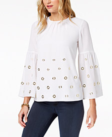 MICHAEL Michael Kors Grommet-Embellished Top, Regular & Petite, Created for Macy's