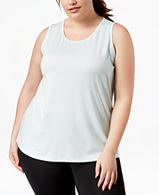 Ideology Plus Size Striped Sleeveless Tank, Created for Macy's