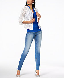 I.N.C. Lace Peplum Jacket, Ruched Top & Skinny Jeans, Created for Macy's