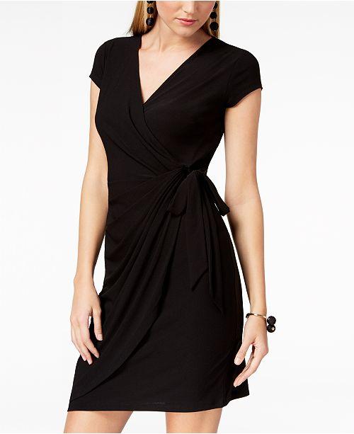 INC International Concepts INC Cap-Sleeve Faux-Wrap Dress, Created for Macy's