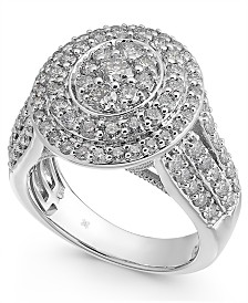 Diamond Oval Cluster Ring (2-1/2 ct. t.w.) in 14k White Gold