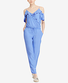 Lauren Ralph Lauren Twill Cold-Shoulder Jumpsuit