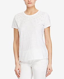 Lauren Ralph Lauren Eyelet-Embroidered Cotton T-Shirt