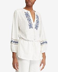Lauren Ralph Lauren Embroidered Cotton Top