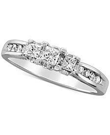 Diamond Princess Trio Engagement Ring (1/2 ct. t.w.) in 14k White Gold