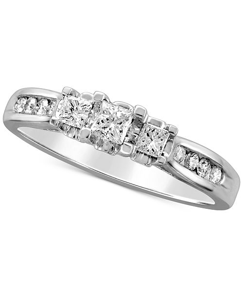 Macy's Diamond Princess Trio Engagement Ring (1/2 ct. t.w.) in 14k White Gold