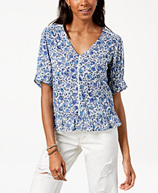 Lucky Brand Floral-Print Ruffle Top