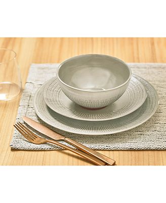 Lucky Brand Rustic Weave 12 Pc Dinnerware Set Service For 4