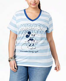 Mad Engine Plus Size Striped Mickey Mouse T-Shirt